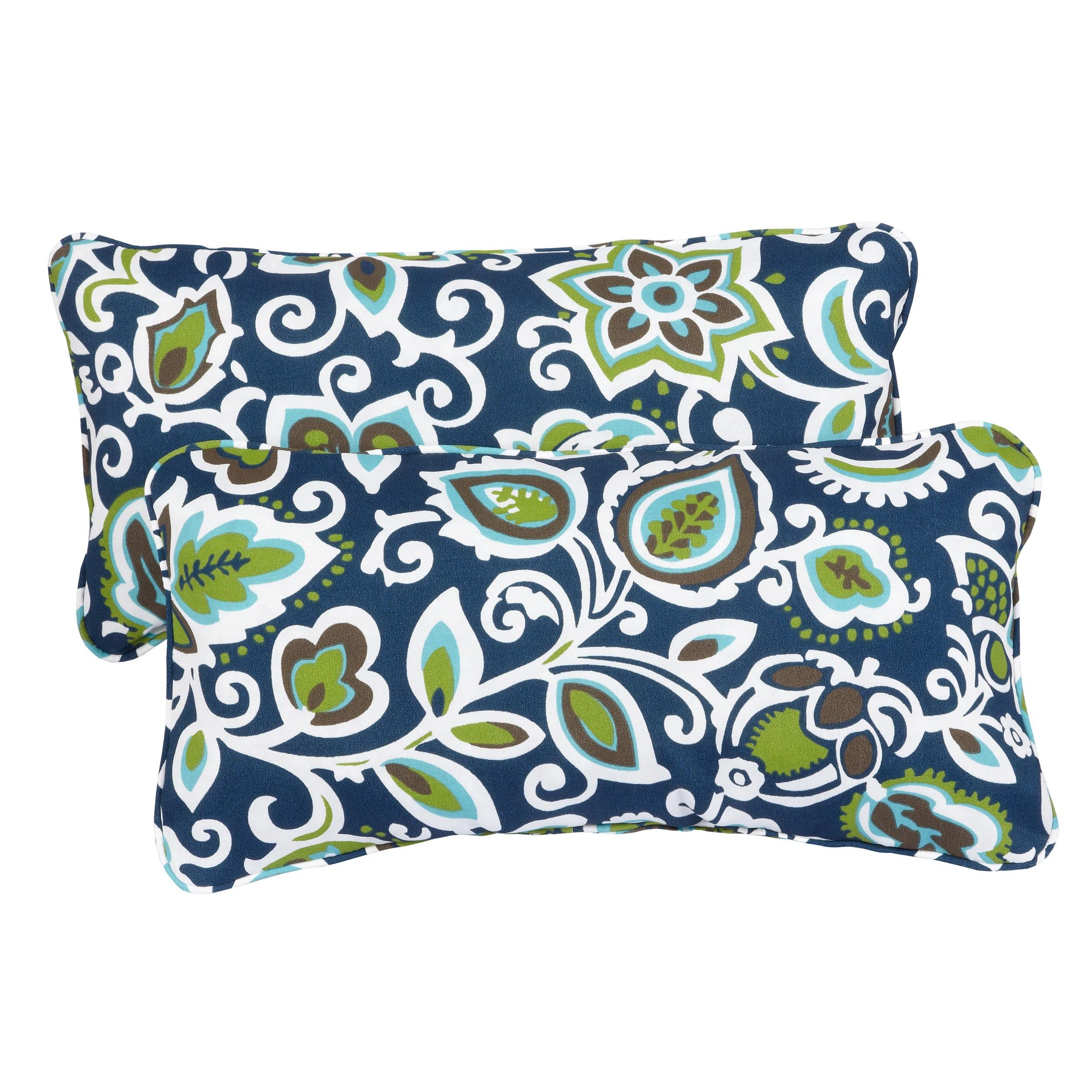 floral navy corded 12 x 24 inch indoor outdoor lumbar pillows set of 2