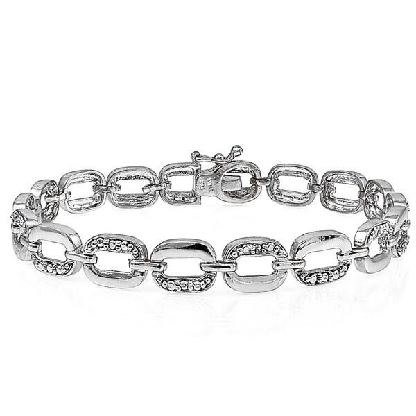 Shop DB Designs Silvertone Diamond Accent Rectangle Link