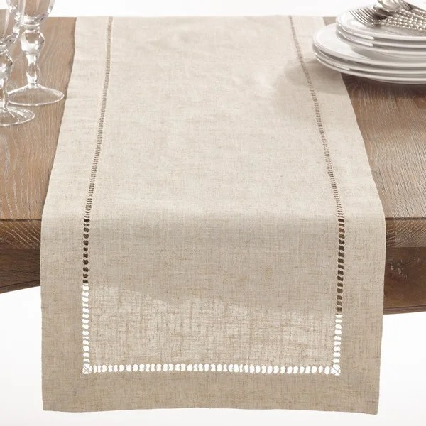 memory foam kitchen runner nook table set shop natural hemstitched linen blend - on ...