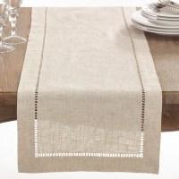 Shop Natural Hemstitched Linen Blend Table Runner - On ...