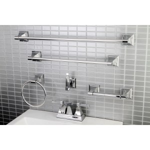 Modern Square Chrome Metal Faucet Towel Rack Bathroom Faucet & Bathroom Accessory Set