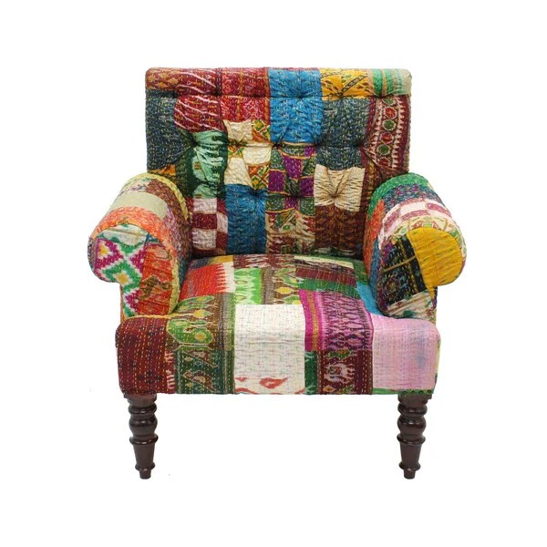 Handmade Claire Patchwork Accent Chair India  Free