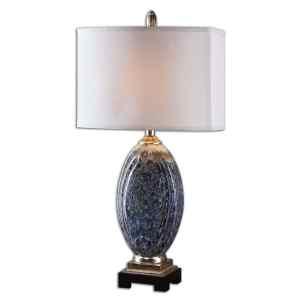 Uttermost Latah 1-light Mottled Blue Glazed Table Lamp