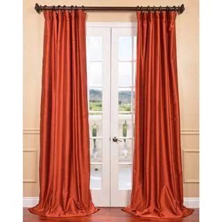 Exclusive Fabrics Burnt Orange Vintage Faux Dupioni Silk Curtain