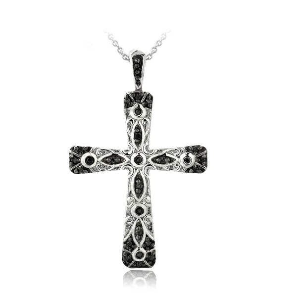 Shop DB Designs Sterling Silver Black Diamond Accent Cross