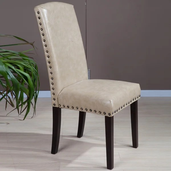 overstock com dining room chairs fabric side shop faux leather nail head parson (set of 2) - on sale free shipping today ...