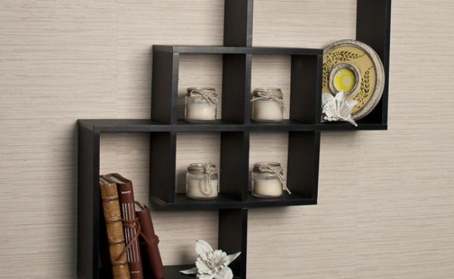 Shop Intersecting Squares Decorative Black Wall Shelf On