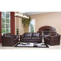 Tribecca Home Eland Black Bonded Leather Sofa Set Best For Dogs Abbyson Living Torrance Premium High-grade Dark Brown ...