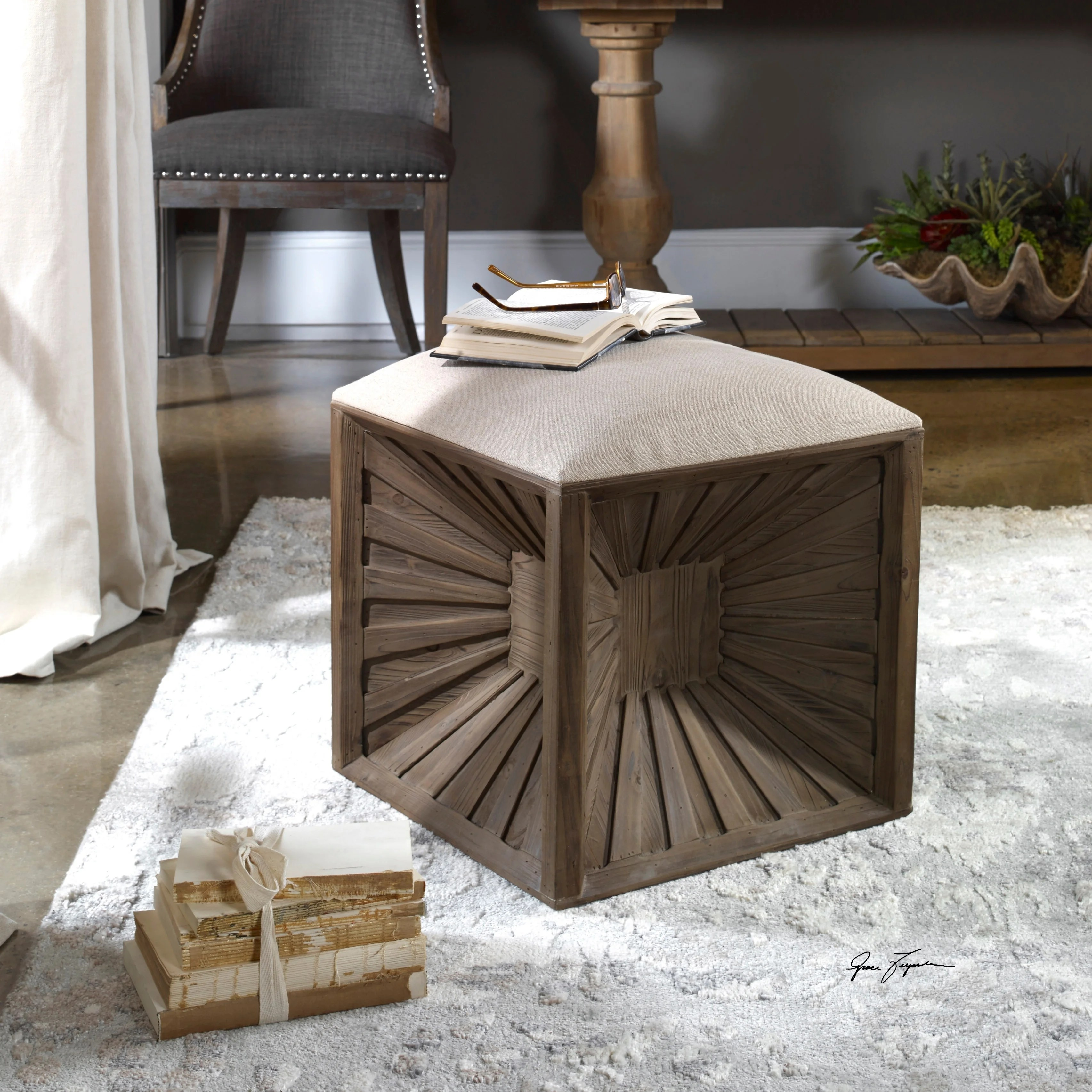 uttermost jia natural wood cube ottoman