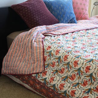 Handmade Timbergirl Pink and Blue Organic Cotton Block Print Quilt India  Free Shipping