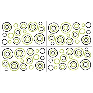 Sweet Jojo Designs Green, Black and White Spirodot Polka Dot Peel and Stick Wall Decal Stickers Art Nursery Decor (Set of 4)