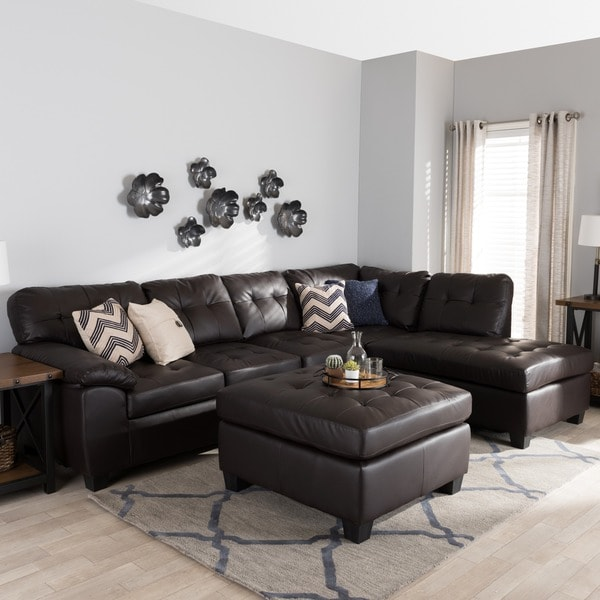 Shop Baxton Studio Mario Brown Leather Sectional Sofa with Ottoman  Free Shipping Today
