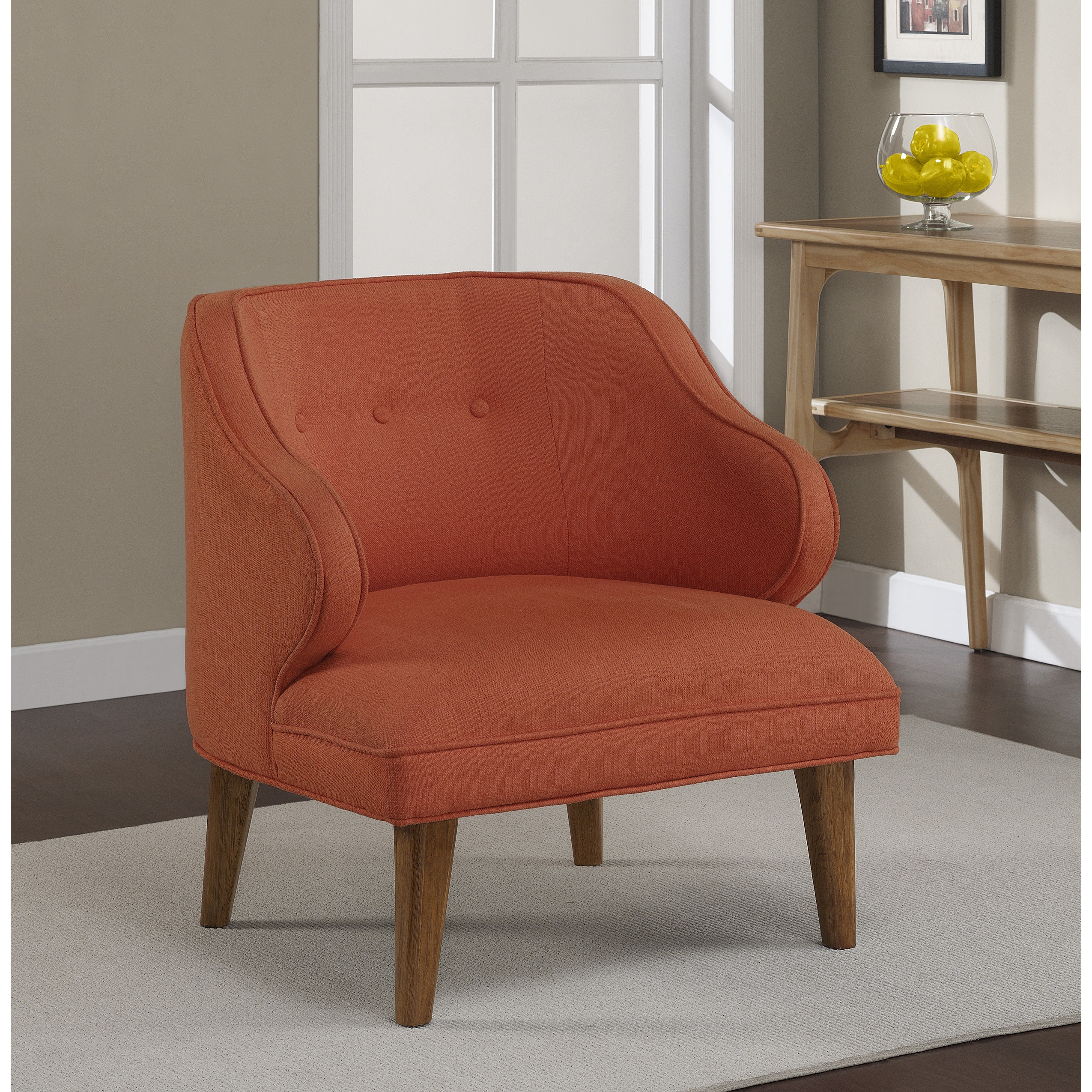 overstock arm chair shower with arms walgreens curved rust upholstered retro