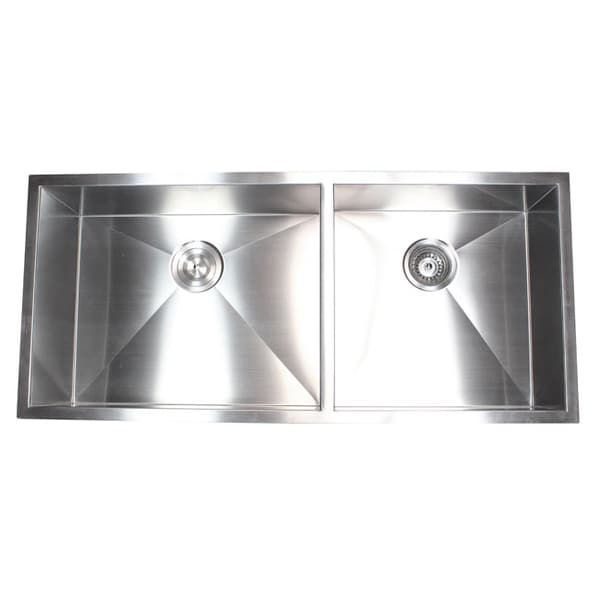 42 inch kitchen sink round drop leaf table shop stainless steel double bowl 60 40 zero radius undermount