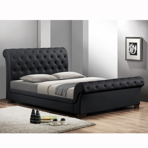 Shop Leighlin Black Modern Sleigh Bed with Upholstered Headboard  Full Size  Free Shipping