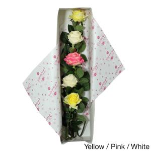 Deco Flowers All Occasion Silk Rose Flower Bouquet and Gift Box
