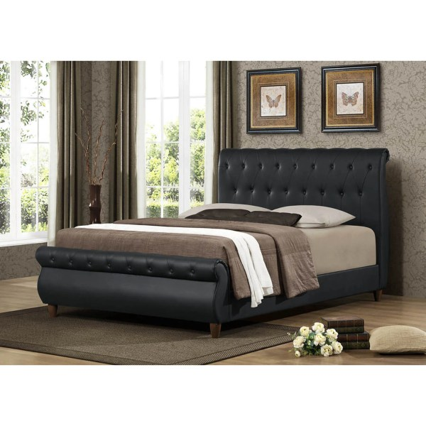 Ashenhurst Black Modern Sleigh Bed With Upholstered Headboard - Full Size Shopping
