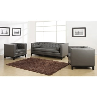 tribecca home eland black bonded leather sofa set in dallas living room sets - overstock shopping the best prices online