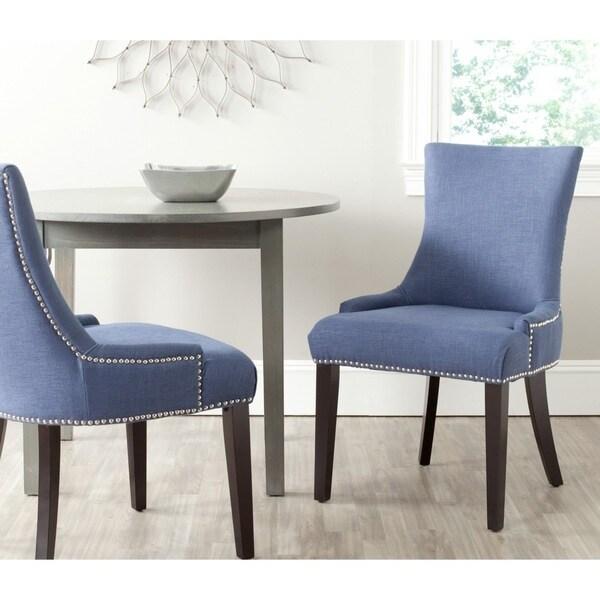Shop Safavieh En Vogue Dining Lester Light Denim Blue Chairs Set of 2  On Sale  Free