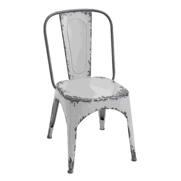 Distressed White Metal Curved Backrest Chair  Free