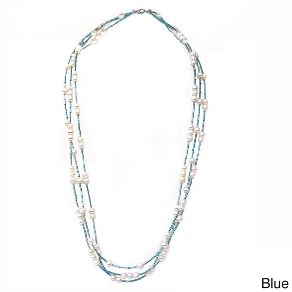 Shop De Buman Freshwater Pearl and Multi-color Glass Long