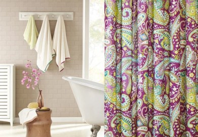Purple Paisley Shower Curtain