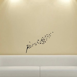Dandelions in the Wind Flying Butterflies Wall Vinyl Decal