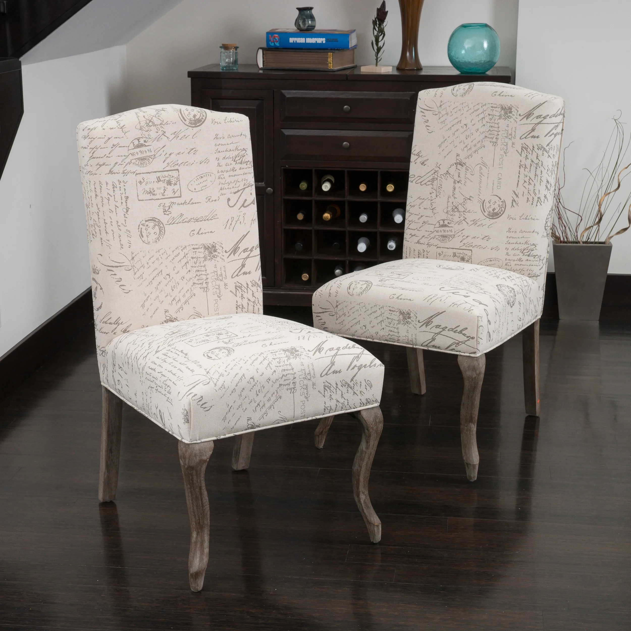 French Script Chair Christopher Knight Home Crown Top French Script Beige