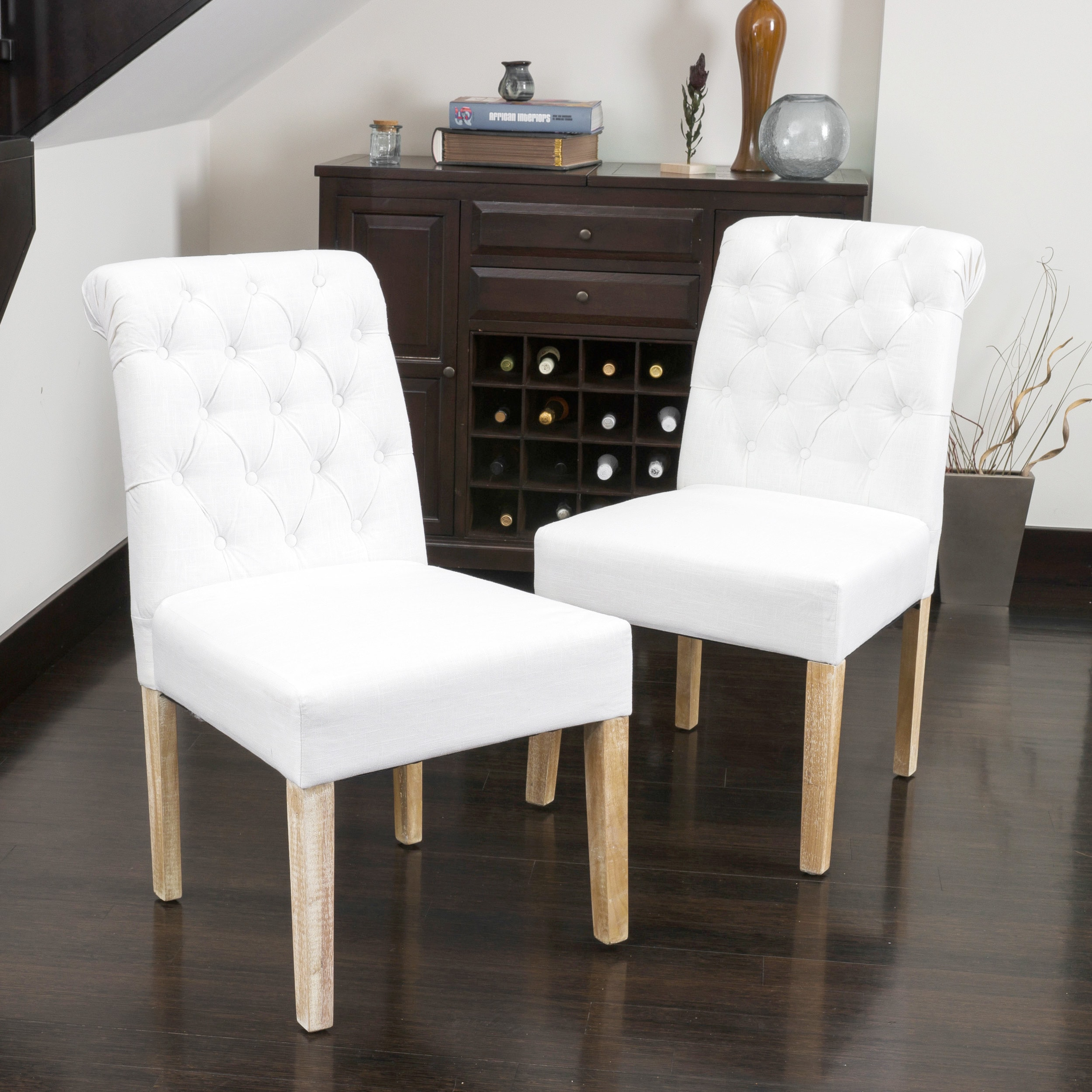 White Fabric Dining Chairs Christopher Knight Home Dinah Tufted White Fabric Dining