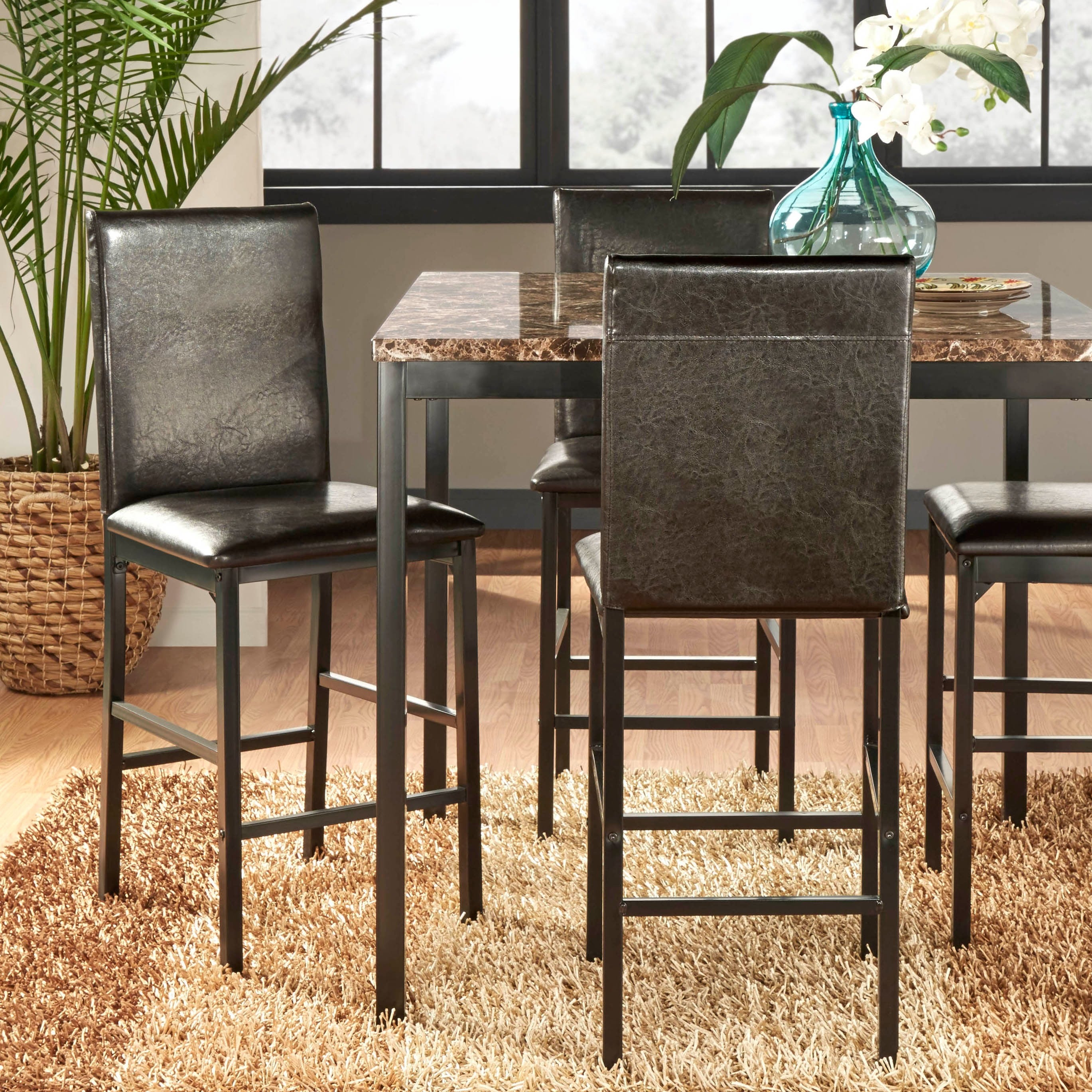 upholstered counter chairs woven patio chair repair darcy metal height dining set of 4 by inspire q