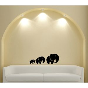 Mom and Baby Elephants Solid Black Animal Wall Vinyl Decal