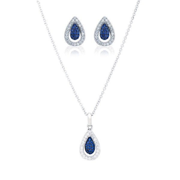 Shop Blue Box Jewels Rhodium Over Silver EQ Star Blue