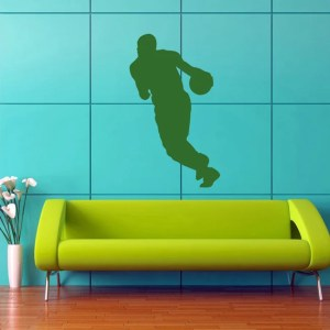 Basketball Player Green Sports Man with The Ball Wall Vinyl Decal