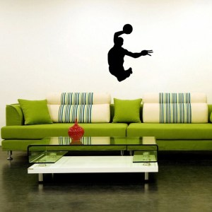 Flying Basketball Player Sports Man with The Ball Wall Vinyl Decal