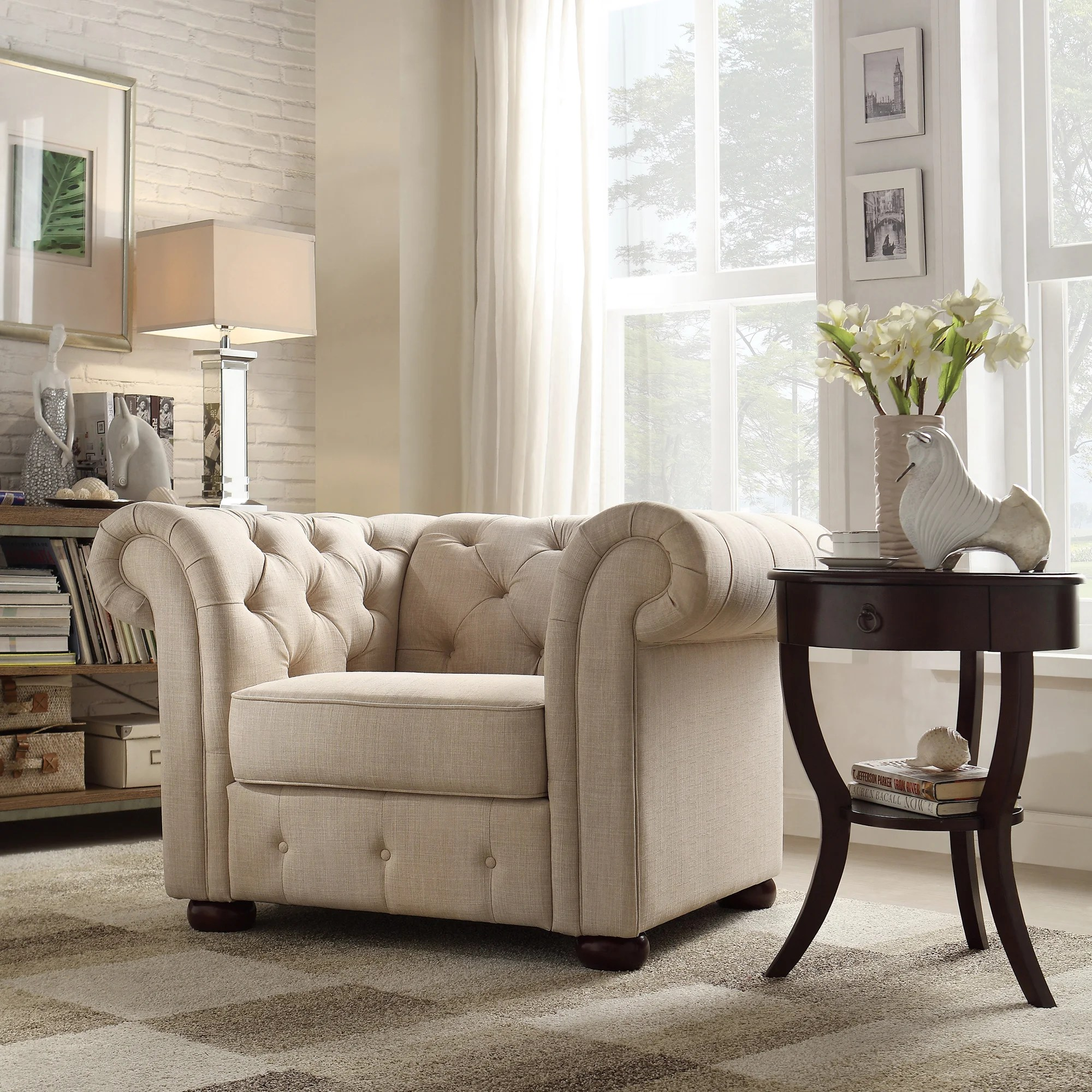 tribecca home knightsbridge beige linen tufted scroll arm chesterfield sofa craigslist sectional inland empire
