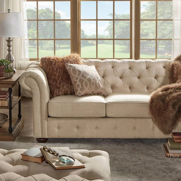 chesterfield sofa material ligne roset bed australia shop knightsbridge beige fabric button tufted and seating by inspire q artisan