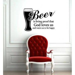Beer Quote Glossy Black Vinyl Sticker Wall Decal