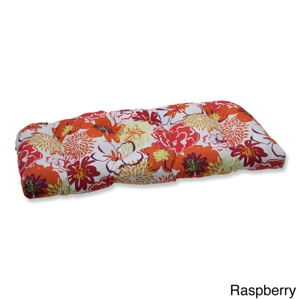 Shop Pillow Perfect Floral Fantasy Wicker Loveseat Outdoor