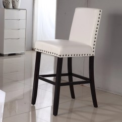 White Leather Bar Chair Evergreen Revolving Luxury Creamy Faux Nail Head Stool