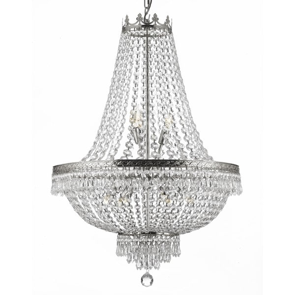 Gallery 9 Light Silver Empire Crystal Chandelier