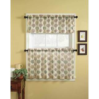 Scroll Leaf 3 Piece Curtain Tier And Valance Set Free Shipping