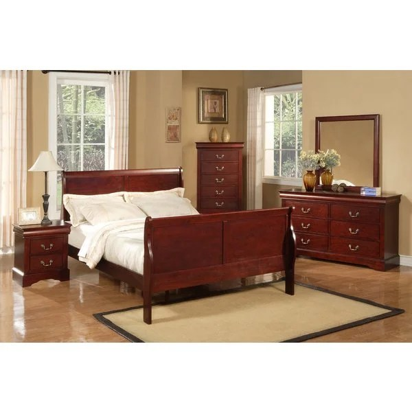 louis philippe ii 5-piece bedroom set - cherry - free shipping