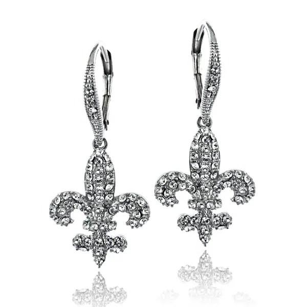 Shop Crystal Ice Silvertone Crystal Fleur De Lis Earrings