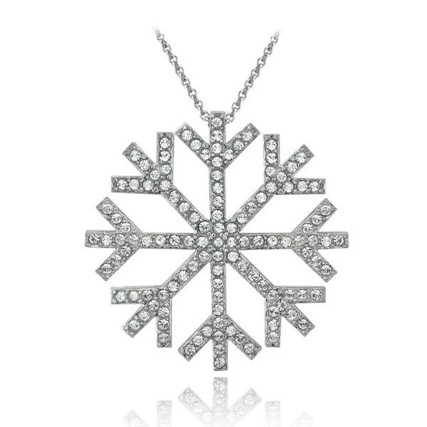 Shop Crystal Ice Silvertone Crystal Snowflake Pendant