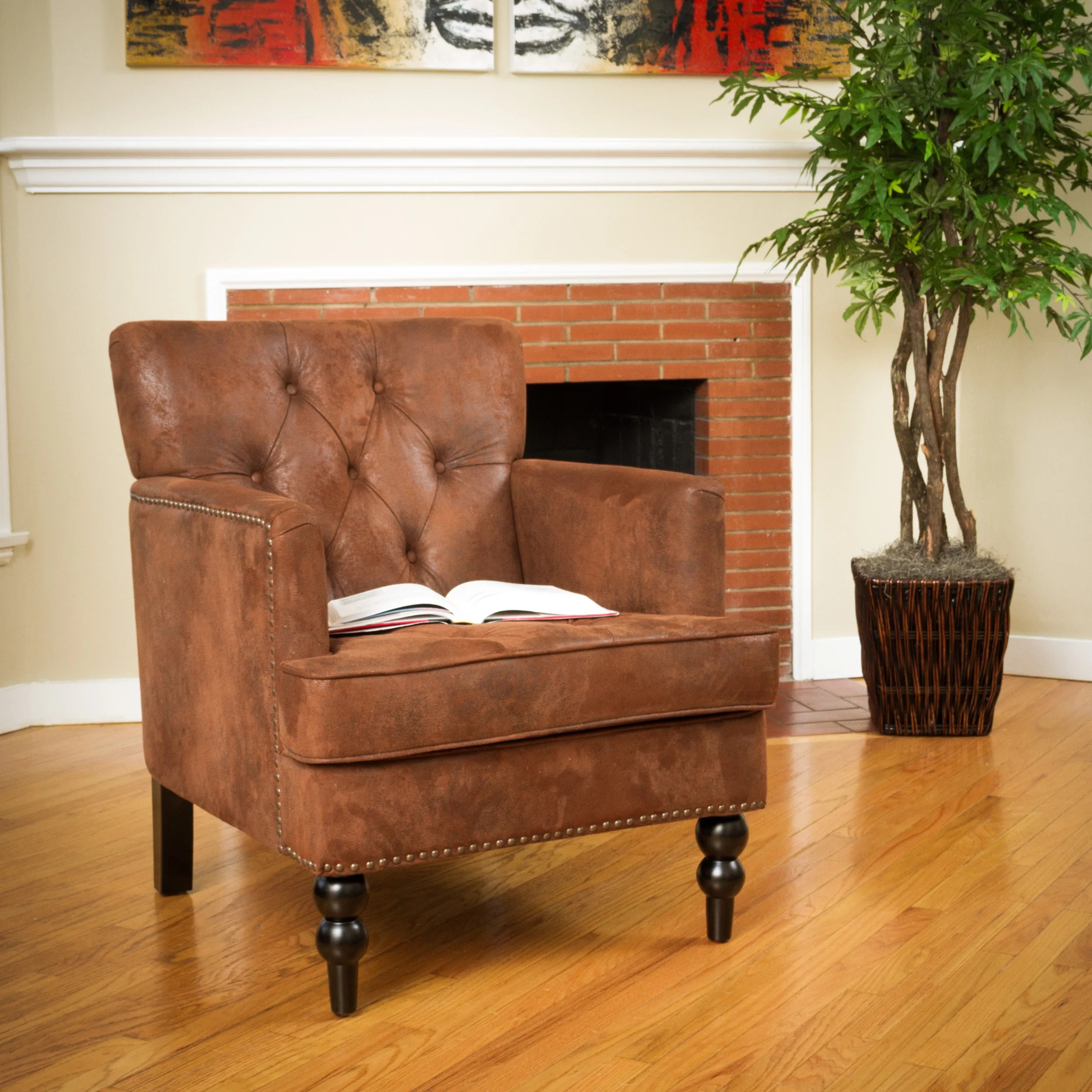 tafton club chair toddler table and set wooden malone brown tufted by christopher knight home