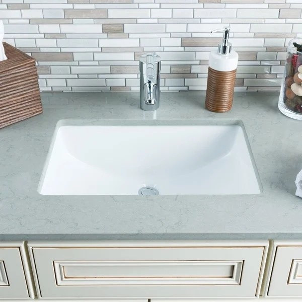 Shop Hahn White Ceramic Large Rectangular Undermount Bathroom Sink  Free Shipping Today