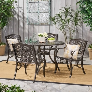 hallandale sarasota cast aluminum bronze piece outdoor dining set by christopher knight home