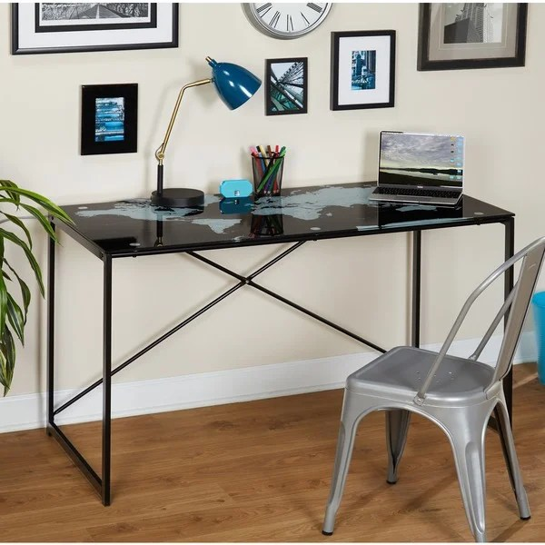 Shop Simple Living World Map Black Desk  Free Shipping