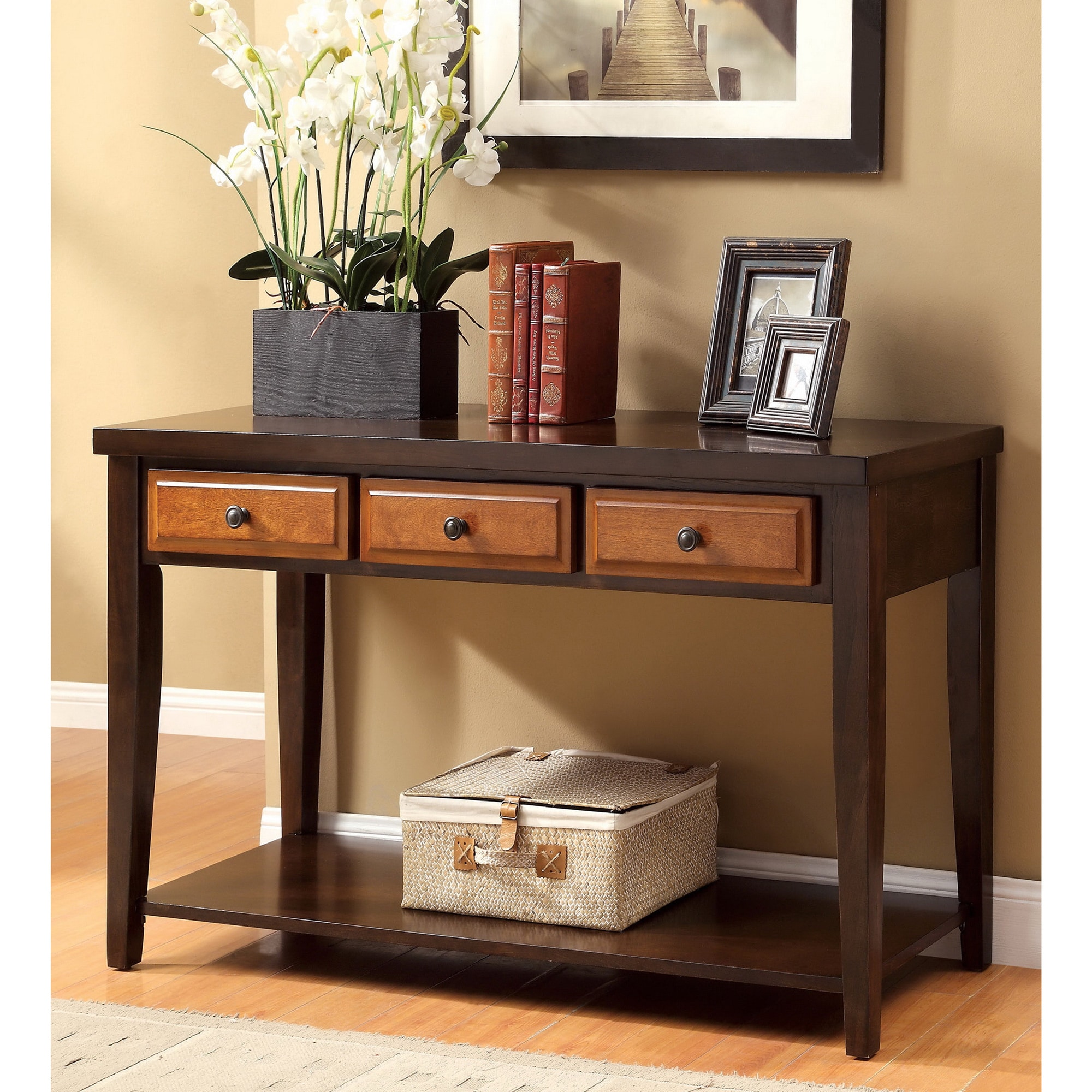 cherry sofa table with storage light brown leather tufted furniture of america dark oak and sente transitional