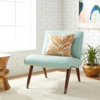 Shop Carson Carrington Mid-century Aqua Bonded Armless ...